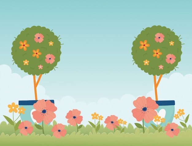 Happy spring garden potted trees flowers grass nature