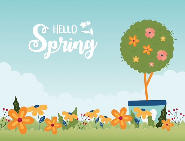 Happy spring potted tree flowers garden floral grass card