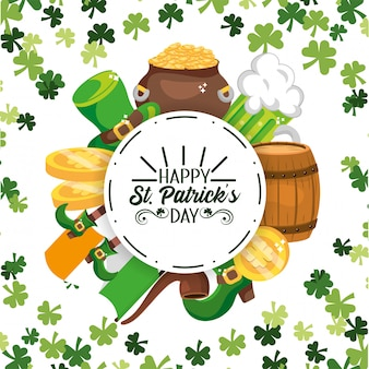 Happy st patrick circle sticker with event decoration