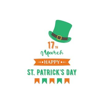 Happy st. patrick day banner with leprechaun hat.