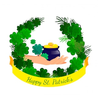Happy st patrick day flat greeting card template