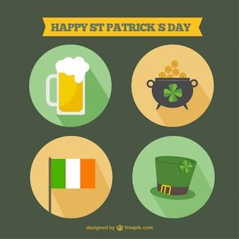 Happy st. patrick day flat icons