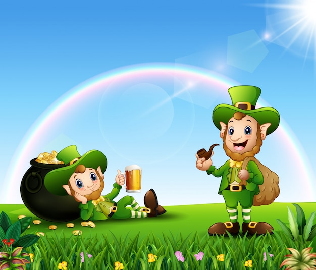 Happy st patrick day leprechaun celebrate with a pot of gold and a beer