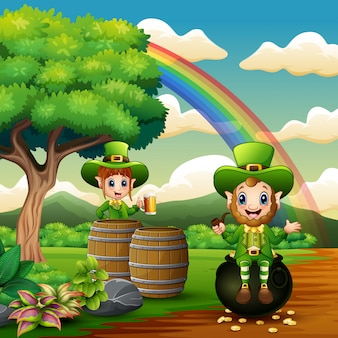 Happy st patrick day leprechauns celebrate on the nature