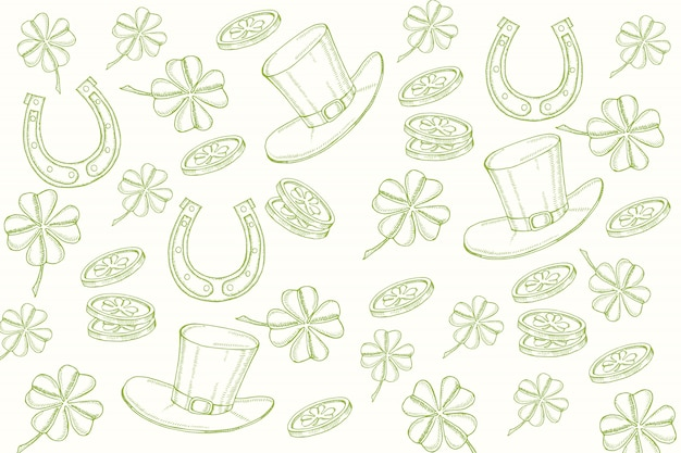 Happy st patrick's day. background with hand drawn symbols in sketch style  engraving objects.