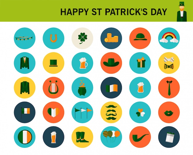 Happy st patrick's day concept flat icons.