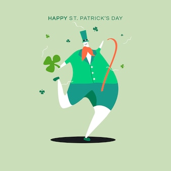 Happy st. patrick's day dancing character vector