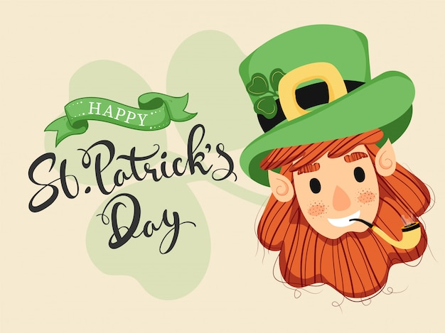 Happy st. patrick's day font with leprechaun man face and smoking pipe on beige .