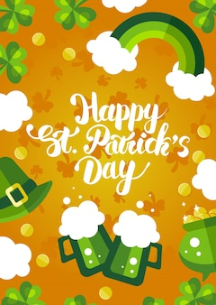 Happy st. patrick's day green and yellow postcard