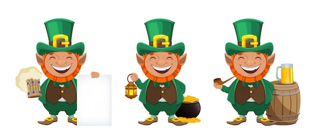 Happy st patrick's day greeting card. cheerful leprechaun