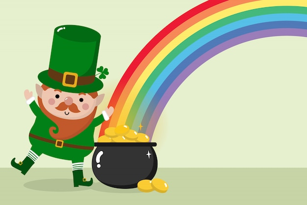 Happy st. patrick's day greeting card with leprechaun.