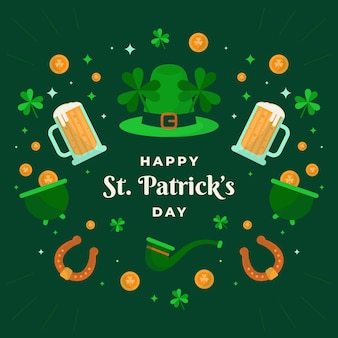 Happy st. patrick's day illustration with hat and beer