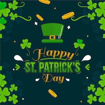 Happy st. patrick's day illustration with hat and shamrock