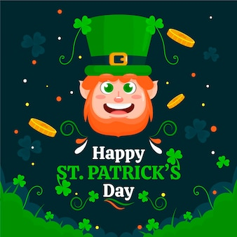 Happy st. patrick's day illustration with leprechaun and coins