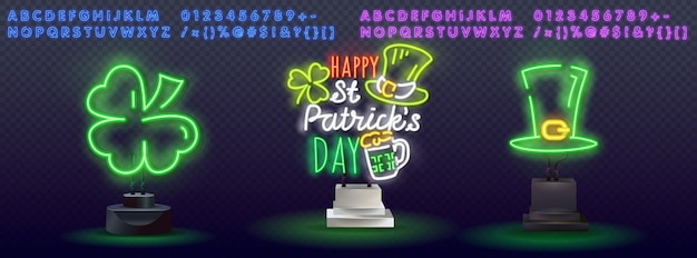 Happy st. patrick's day in neon style.
