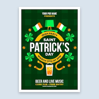 Happy st. patrick's day party poster template