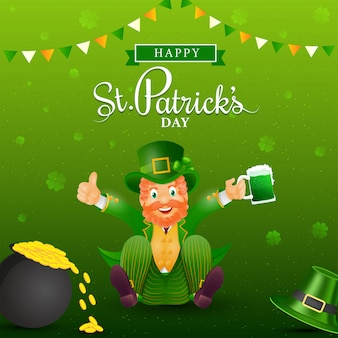 Happy st. patrick's day poster design with cheerful leprechaun character holding beer mug and coins pot on green shamrock