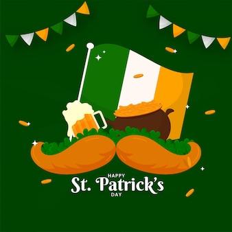 아일랜드 국기와 함께 행복한 성 패트릭의 날 포스터 디자인