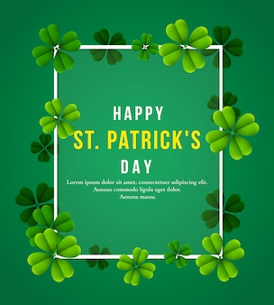 Happy st. patrick's day poster with clover leaves