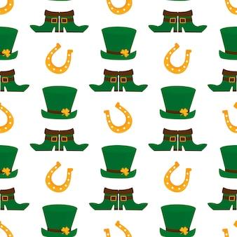 幸せな聖パトリックの日のシームレスなパターンの図