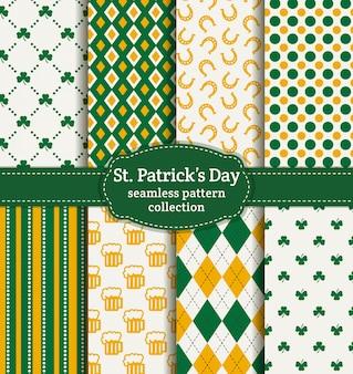 Happy st. patrick's day! set of seamless patterns.