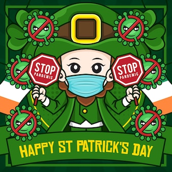 Шаблон плаката в социальных сетях с днем святого патрика с изображением лепрекона, мультипликационного персонажа, держащего знак остановки пандемии covid-19
