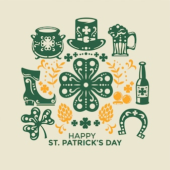 Happy st patrick's day. vector symbols cut-out