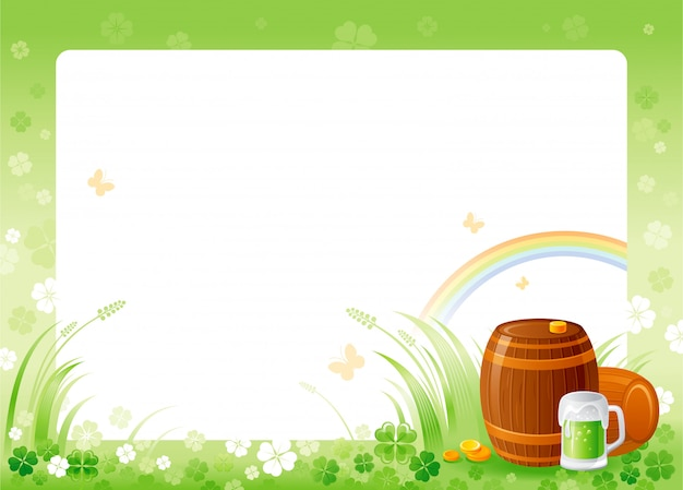 Happy st patrick's day with green shamrock clover frame, rainbow, green beer glass and barrels.