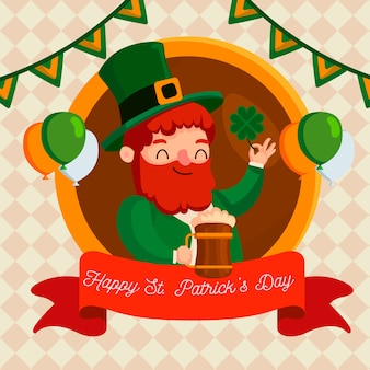 Happy st. patrick's day with man holding beer mug