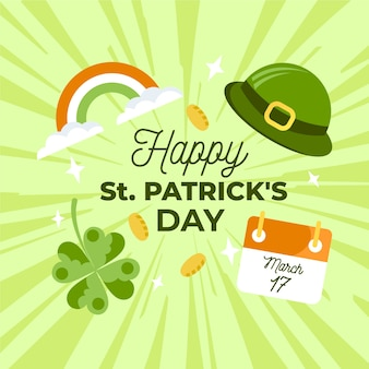 Happy st. patrick's day with rainbow and coins