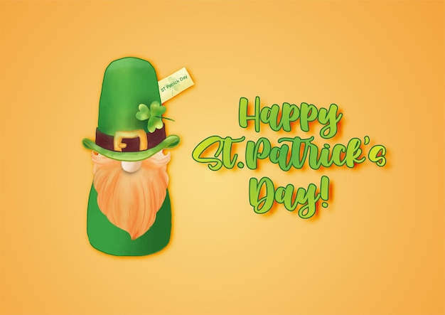 Happy st. patrick's day with st.patrick's doll and green hat on orange
