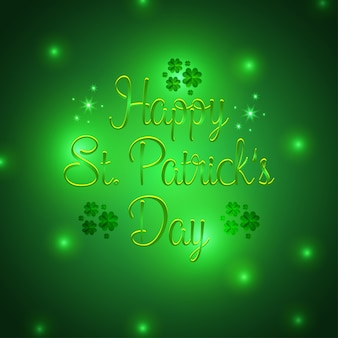 Happy St Patrick typography with green vintage background