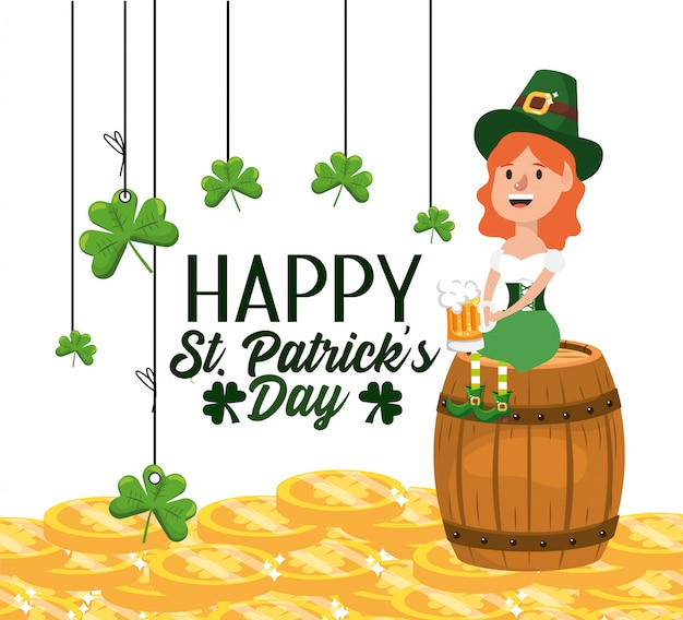 Happy st patrick with woman and beer glass in the barrel