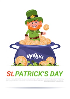 Happy st. patricks day background with cute leprechaun sitting on pot with golden coins