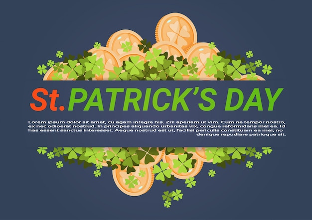 Happy st. patricks day background with golden coins and clover leaves