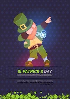 Happy st. patricks day background with green man leprechaun