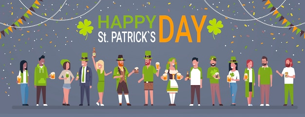 Happy st. patricks day background with people wearing traditional clothes and holding beer glasses and mugs horizontal banner