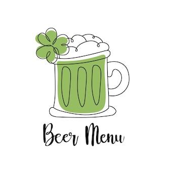 楽しいセント・パトリック・デイを過ごしてね。ビール。レストランのメニューカードのデザインに。パトリックの日のメニューテンプレート。ベクトルイラスト