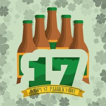 Happy st patricks day bottles beer clover background