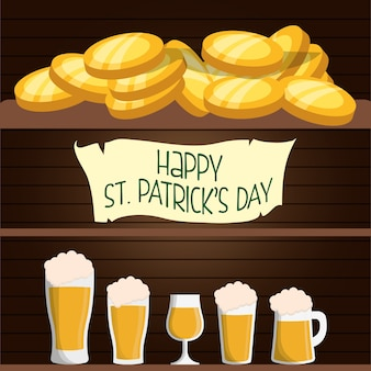 Happy st patricks day card beers and coins wooden background
