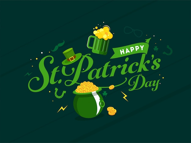 Happy st. patricks day card leprechaun hat, golden coins pot and beer mug on green