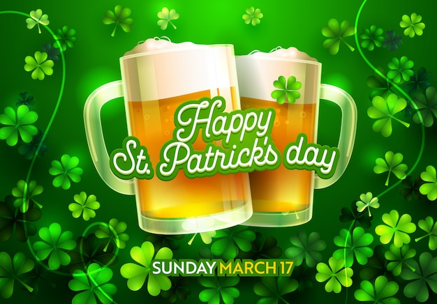 Happy st patricks day card with beer lucky clover ornament and calligraphy font type. traditional st. patric day card for pub bar menu or t-shirt print banner. flat cartoon vector illustration
