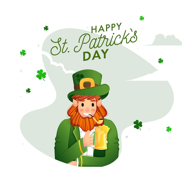 Happy st. patricks day card with  leprechaun man celebrating with drink, smoking pipe and shamrock leaves decorated