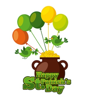 Happy st patricks day cauldron gold coins balloons and green birds