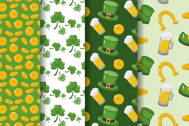 Happy st patricks day, clover, beer, hat and coins pattern