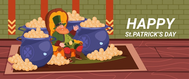 Happy st. patricks day decoration card with leprechaun sitting between pots with golden coins horizontal banner