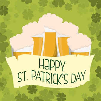 Happy st patricks day glass beers clover background