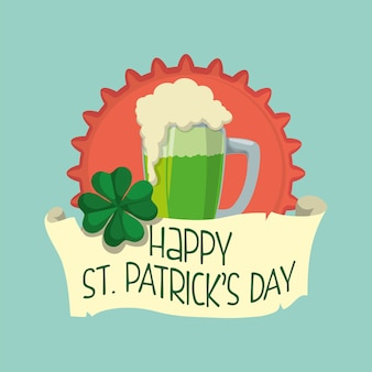 Happy st patricks day glass green beer clover badge