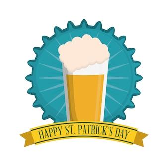 Happy st patricks day glasss beer badge