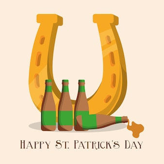 Happy st patricks day golden horseshoe and bottle beer